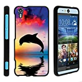 TurtleArmor | Compatible with HTC Desire Eye Case [Slim Duo] Hard Shell Snap On Case Compact Cover Matte Sea Ocean Design on Black - Dolphin Jump