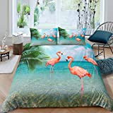3D Pink Flamingo Comforter Cover Sets Green Leaves Birds Printed Duvet Cover Queen Microfiber Ultra Soft 3 Pieces Bedding Sets(1 Duvet Cover 2 Pillow Cases)