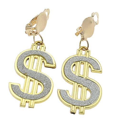 Milageto 1 Par de Pendientes de Dólares a La Moda para Mujer, Accesorio de Disfraces de Los años 80