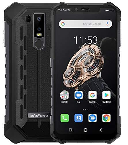 Ulefone Armor 6S Android 9.0 Móvil Anti Agua/antigolpes - Helio P70 Smartphone Resistente al Golpes, Octa-Core 6GB + 128GB, 6.2'' FHD+ Pantalla Notch, Carga inalámbrica, IP68 Impermeable - Negro