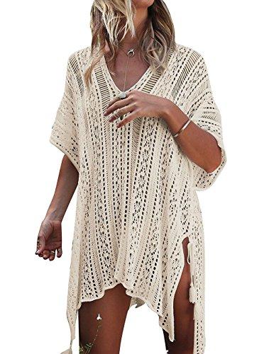 UMIPUBO Mujer Ropa de Baño Crochet Vestido de Playa V Cuello Camisolas y Pareos Bikini Cover up (Beige)