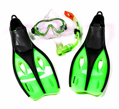 Kinder-Profi-Schnorchel-Set mit Tauchmaske, Schnorchel und Flossen, Größe S oder XS, lieferbar in den Farben Blau, Grün, oder Orange (XS (32-34), Grün)