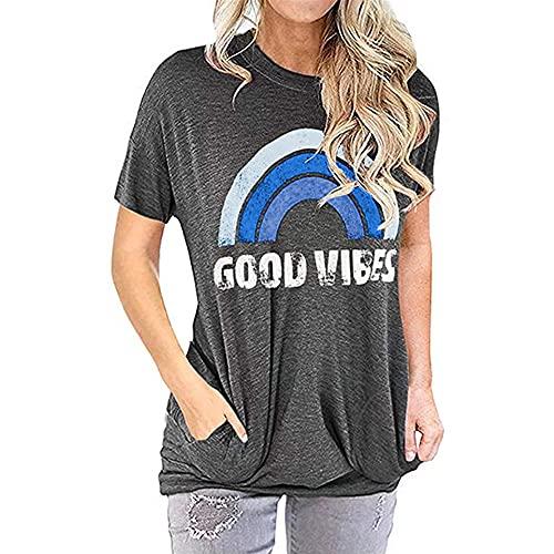PANBOB Blusa Mujer Letra Suelta Bolsillos con Estampado De Arco Iris Cuello Redondo Mujer Tops Generoso Casual Moda Transpirable Simplicidad Única Uso Diario Mujer Shirt C-Grey Blue XL