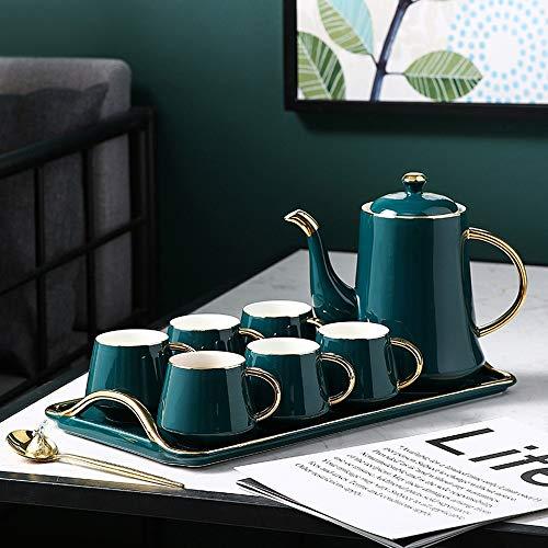 Fighrh Europäische Kaffeetasse Set Keramik Kaffee Set Haus britischen Afternoon Tea Set Nordic Ceramic Cup Klassik Smaragdgrün-Wasser-Schalen-Geschenk for Weihnachten (Größe : B)