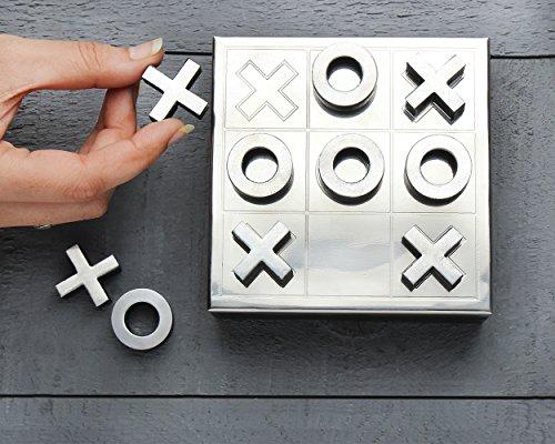 Store Indya, Set da gioco Tic-Tac-Toe & Solitaire in legno Set 2 in 1 Giochi da tavolo intagliato a mano con scatola portaoggetti (marrone 5)