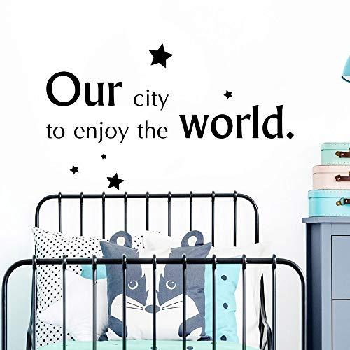 Jsnzff Mundo móvil Pegatinas de Pared móviles Habitación de los niños Decoración del hogar Dormitorio Decoración de guardería 90x27cm
