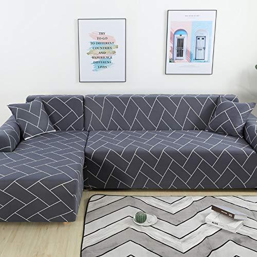 Fundas de sofá de Esquina para Sala de Estar Funda elástica elástica Sofá seccional Chaise Longue Funda de sofá en Forma de L A18 2 plazas