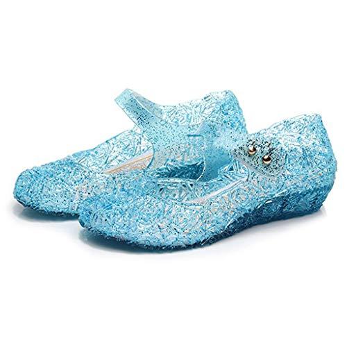 Mädchen Schuhe MŠdchen Frozen Eiskšnigin Prinzessin Verkleiden Sich Mädchen Phantasie Prinzessin Schuhe für Halloween Cosplay Party Geburtstag Schnee Königin Gelee Partei Schuhe Sandalen (Blau, 28)