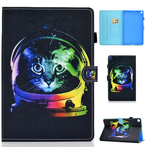 L&Btech Funda Samsung Tab A7 10.4'' 2020 Funda Protectora de Cuero PU de Calidad, con Soporte para Tarjeta y función de Soporte, Adecuada para Galaxy Tab A7 10.4' SM-T500/T505/T507- Gato Espacial