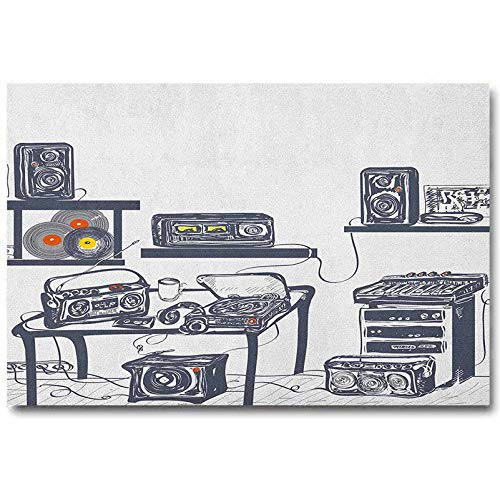 ScottDecor Modern Print Stickers Retro Frameless Mural Gifts No Frame Recording Studio with Music Devices Turntable Records Speakers Digital Illustration Gifts for Family Cadet Blue L30 x H60 Inch