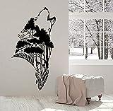 Pegatinas de pared de moda Abstracto Pegatina de pared Cabeza de lobo Silueta Naturaleza Bosque Creativo Vinilo Ventana Pegatinas Animales Dormitorio Hombre Cueva Decoración del Hogar 57X31