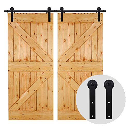 CCJH 274cm 9FT Kit puerta granero herraje corredera,Puerta de Granero Corredera de Madera, Herraje para Puertas Corredizas Interiores,puerta doble