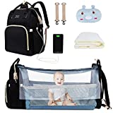 8 in 1 Diaper Bag with Changing Station, PaurFu Waterproof Diaper Baby Bag with Travel Bassinet for Boy Girl,Portable Diaper Bag Backpack with USB Charging Port (Black)