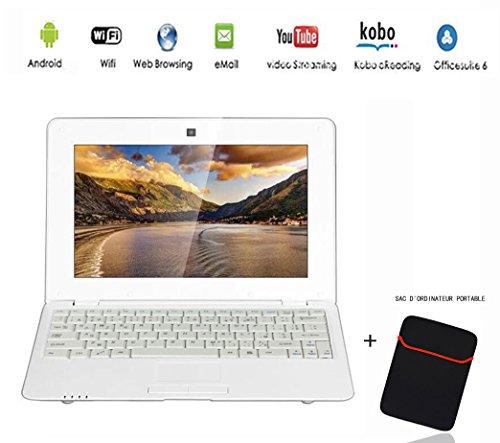G-Anica Netbook Ordenador portátil Ultrabook con Android 4.4, pantalla de 10,3pulgadas (HDMI, Wi-Fi, Ethernet, 1,5GHz, 512MB + 4GB), incluye bolsa de ordenador portátil blanco blanco