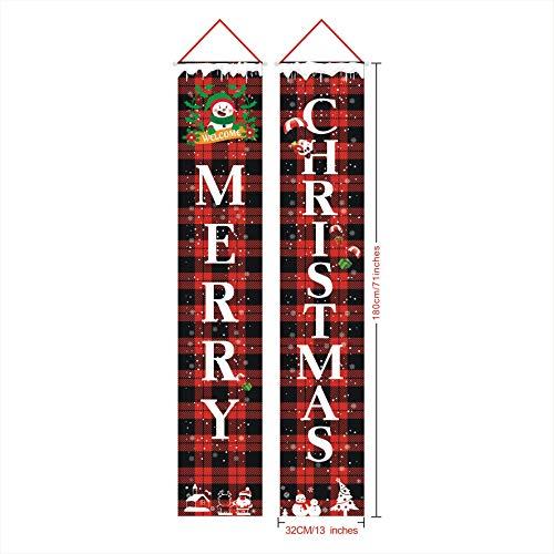 Babitotto - 2 cortinas de Navidad para puerta, diseño de bandera de Navidad, para colgar al aire libre, decoración de Navidad, 32 x 180 cm, adornos de Navidad