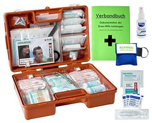 Erste Hilfe Koffer M2 PLUS für Betriebe DIN 13157 / EN 13157 von WM-Teamsport - incl. Notfall-Beatmungshilfe + Verbandbuch & Antisept-Hygiene-Spray