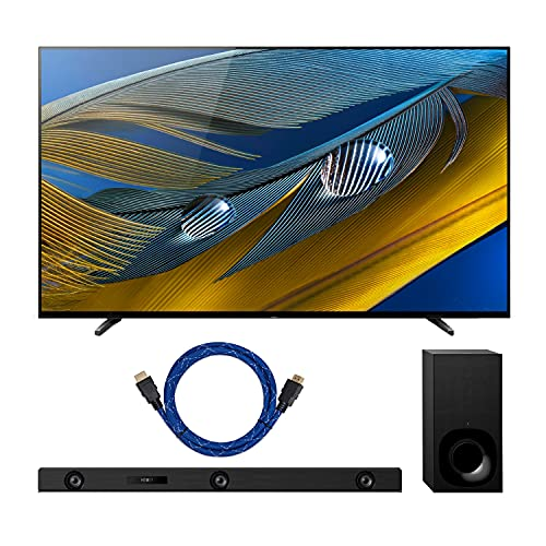Sony BRAVIA XR Series A80J 65-Inch Class HDR 4K UHD Smart OLED TV (2021 Model) with HT-Z9F 3.1-Channel Dolby Atmos Soundbar and Knox Gear 4K HDMI Cable Bundle (3 Items)