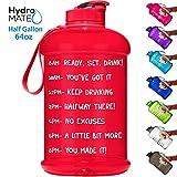 HydroMATE Motivations-Wasserflasche mit Zeitmarkierung, groß, BPA-frei, mit Griff, wiederverwendbar, auslaufsichere Flasche, für mehr Wasser, täglich 64 oz, rot