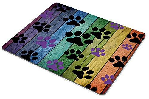 Smooffly Mousepad Rustic Rainbow Woodgrain Black and Purple Dog Paw Personality Desings Gaming Mouse Pad 9.5 X 7.9 Inch (240mmX200mmX3mm) Photo #4