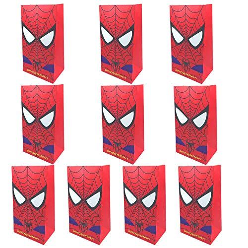 NAXIEE 10 Stück Spiderman Papiertüten, Spiderman Party Geschenk Taschen, Superhelden-Themen Geburtstagsparty liefert Dekorationen behandeln Süßigkeiten Taschen