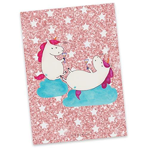Mr. & Mrs. Panda cadeaubon, wenskaart, Ansichtkaart Eenhoorns Champagne - Kleur Glitter roze