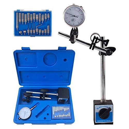 Dial Indicator with Magnetic Base Holder Fine Adjustable Long Arm 0-10mm Tester Gage Gauge 0.01mm