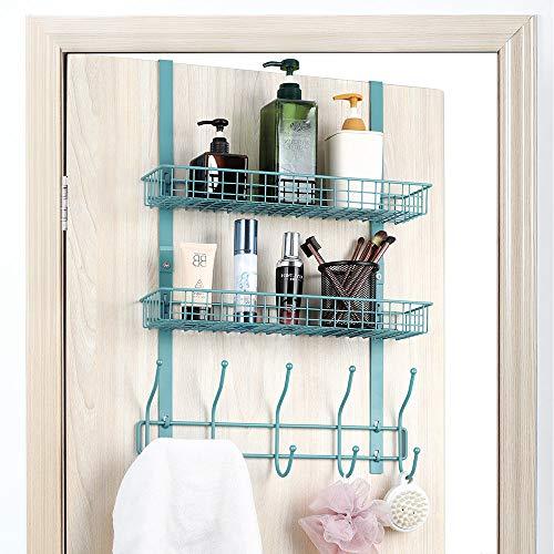 Over The Door Hook 5 Double-Row Hooks 2 Baskets Metal Shelf Hanger Door Hook 2 Tier Storage Rack for Coats Towels Bags Aqua Blue