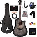 WINZZ HAND RUBBED Series - Full Size Cutaway Carved Acoustic Guitar Adult Beginner Starter Bundle with Full Kit,41 Inches Right Handed, Gray
