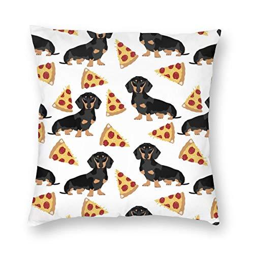 Doxie Dachshunds Pizza divertida linda mascota perro comida pizzas dachshunds tela terciopelo suave decorativo cuadrado funda de almohada cojín funda de almohada para sala de estar sofá dormitorio con cremallera invisible 20 x 20 pulgadas