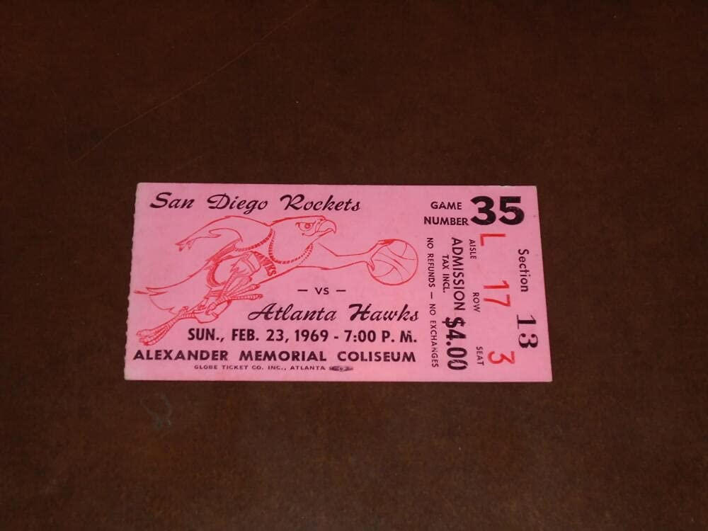Spring new work one after another 1968 1969 ROCKETS Max 90% OFF AT HAWKS NBA TICKET HUDS PAT RILEY STUB PTS 20