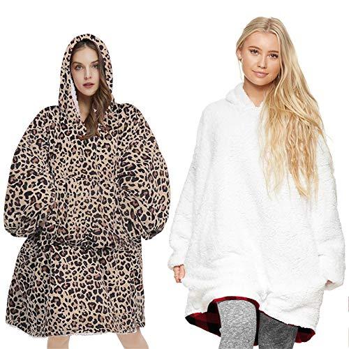 REN12Ni 2020 Women Leopard Pattern Fashion Oversize Hooded Blanket Office Sofa Watching TV Comfortable Warm Cloak Hoodie
