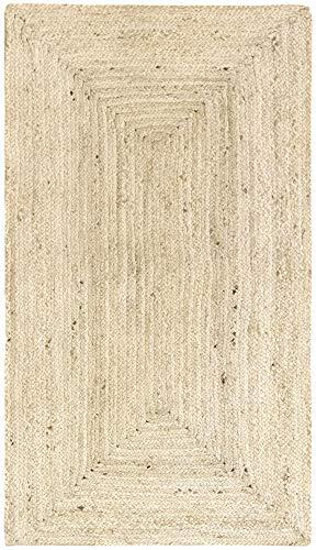 HAMID Alfombra Yute Alhambra Color Semi Blanco- Alfombra 100% Fibra de Yute...