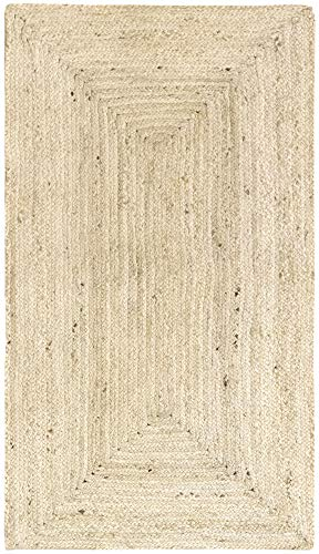 HAMID Alfombra Yute Alhambra Color Semi Blanco- Alfombra 100% Fibra de