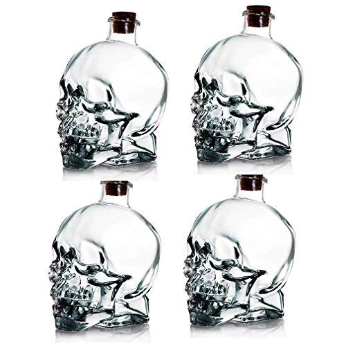 GXYtable cloth 750 ml Decantador de Vino, decantador de Whisky Crystal Crystal Skull Fit Botella de Cara, Vidrio Espesado sin Plomo con Corcho, Sturdy Whisky y Vodka de Vidrio (4pcs)