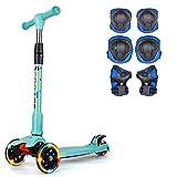 キックスクーター子供用 3輪キックボード 3階段調節可能 キッズ スクーター 組立不要 LED 光るホイール 付きプロテクター (青)