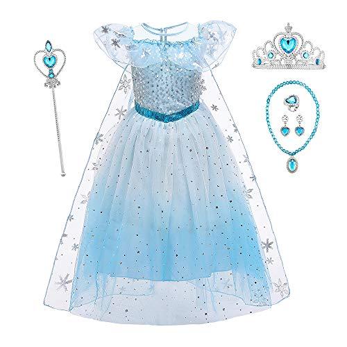 O.AMBW Vestido Azul o Rosa Elsa Frozen Disfraz Nia Princesa Disfraces de Halloween para nios Cosplay Carnaval Fiesta de Cumpleaos Vestidos de Navidad Nias con Capa Desmontable y Accesorios