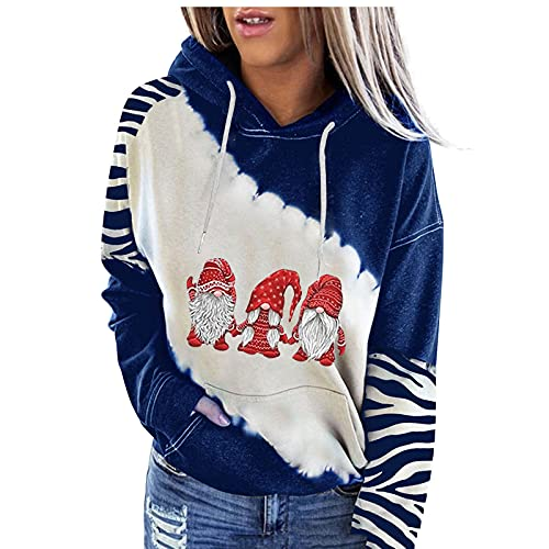 kelei Suéter de cuello redondo con estampado de Navidad para mujer, color casual, empalme suelto con chaqueta de sombrero, #7 Azul, S