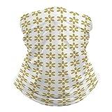 pants hats SamGuo Daisy Puff Papercut in Dijon Mustard Yellow on White Solid.Multifunctional Variety Head Scarf Dust Wind Sun-Proof Bandanas Fashion Riding Mask Helmet Liner for Men&Women