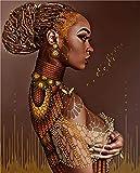 HJKLP Pintura Al óLeo De Mujer Africana Lienzo En Negro Y Dorado PóSter Impresiones Cuadros ArtíSticas Colgantes En La Pared Cuadros Dormitorio BañO Decoracion 60x80cm Sin Marco