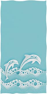 REFFW Birds Bath Towels Hand for Home Bathroom Hotel Gym Spa Highly Absorbent Soft Large Decorative Chic Sea Waves Couple of Dolphins Multipurpose Guest
