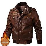 LISI Chaqueta de Cuero para Hombre Transición Acanalada Moda Casuales Algodón Jacket Retro Style Biker Jacket