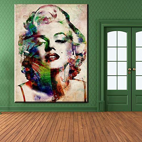 HGlSG Kleur Marilyn Monroe Olieverf Antieke Kamer Aquarel prints Gedrukt Poster Deco Op Canvas Muur Foto voor Living A2 60x80cm