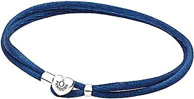 Pandora Engraved Logo Heart Shape Fabric Cord Double Bracelet for Women - Dark Blue