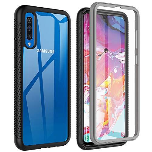 Owkey Samsung Galaxy A70 Hülle, A70S Hülle, 360° Rundumschutz TPU Robust Bumper Handyhülle Mit Eingebautem Displayschutz, Stoßfest Kratzfeste Slim Fit Schutzhülle für A70 A70S, Schwarz, Grau/ Klar
