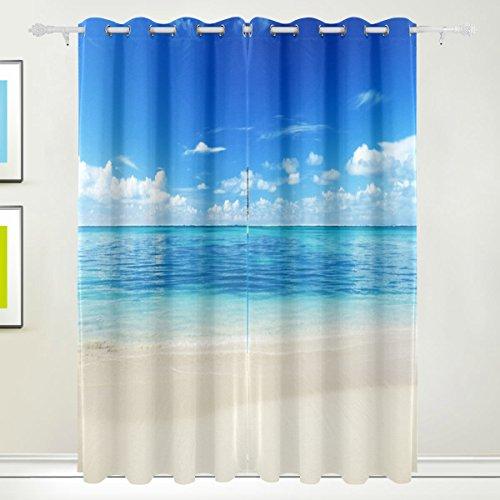 Rideau de fenêtre, Luxe Mer tropicale Plage Sky Impression Isolation thermique épais Super Doux Tissu de polyester Décoration de maison avec œillet 2 panneaux pour chambre à coucher Salon de