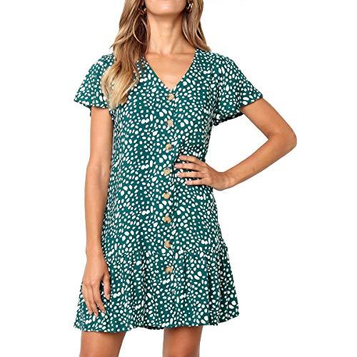 SHERONV Women's Polka Dot V Neck Button Down Ruffles Loose Mini T-Shirt Dress (Green, Large)