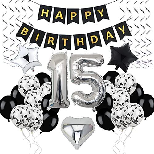 Decoración de cumpleaños número 15 años, diseño de hombres y jóvenes, 15 globos negros y plateados, globos decorativos para 15 cumpleaños