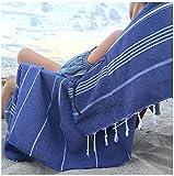 Lux Oversized 40x75 Absorbent Cotton Beach Towel w/Hidden Pocket...