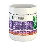 Ambesonne - Tazza per la scuola, motivo: tavola periodica degli elementi, motivo a scacchi colorati a tema scientifico, tazza da caffè in ceramica per acqua e tè, colore: viola blu
