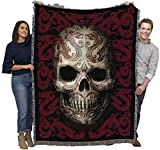 Oriental Skull - Anne Stokes Gothic Collection - Cotton Woven Blanket Throw - Made in The USA (72x54)